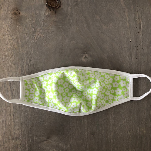 KIDS' SIZE: Reusable Masks in Green/White Small Floral