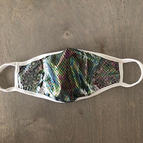 KIDS' SIZE: Reusable Masks in Iridescent Silver Cobra