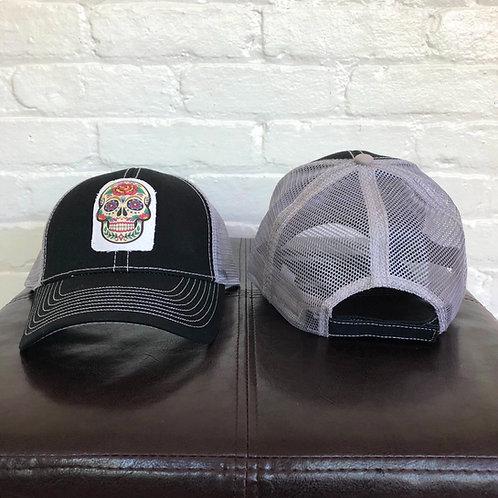 """Sugar Skull"" Black with Grey Trucker Hat"