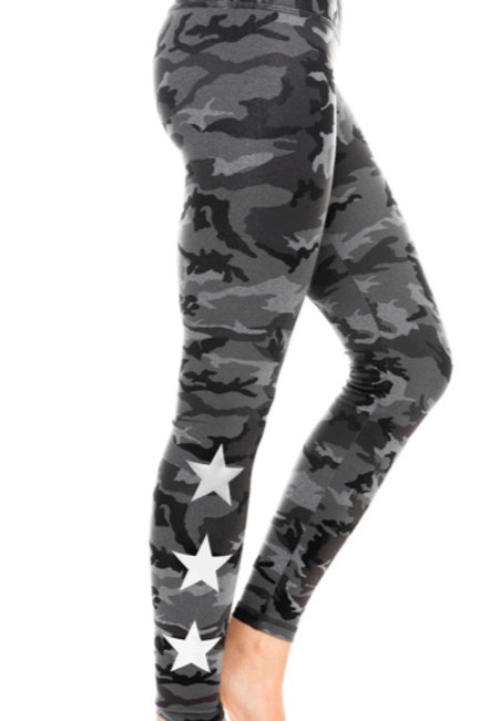 Strut This Star Ankle in Tonal Camo with Metallic Silver Stars