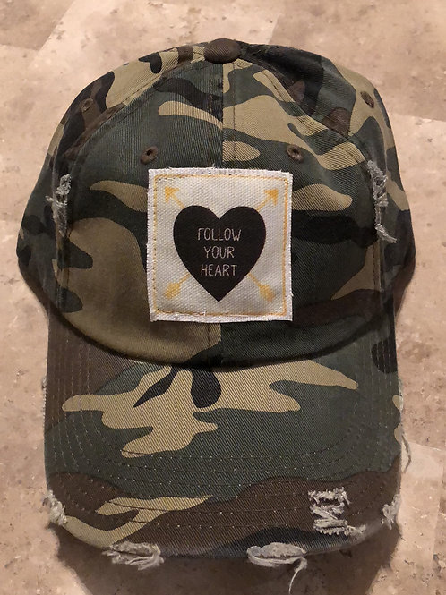 Follow Your Heart Camo Distressed Hat