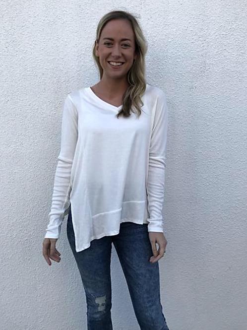 Asymmetric V Neck Jersey Shirt In White