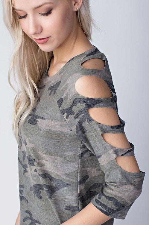 Camo Strap Shoulder Pullover