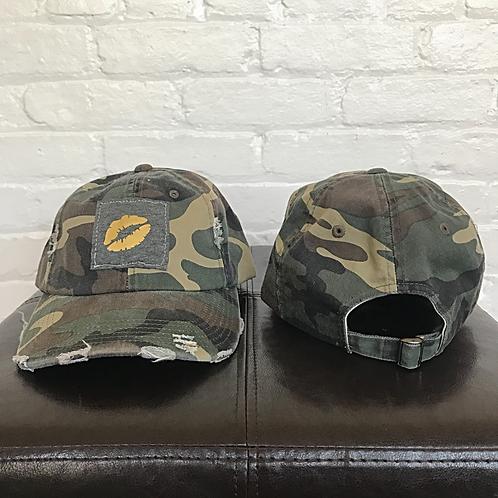 Kiss 💋 Distressed Camo Hat