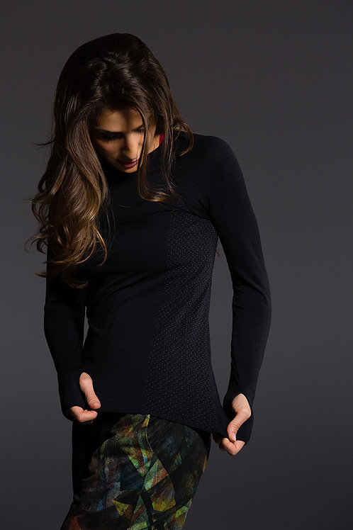 Seamless Longsleeve Mesh Top - Black Mesh