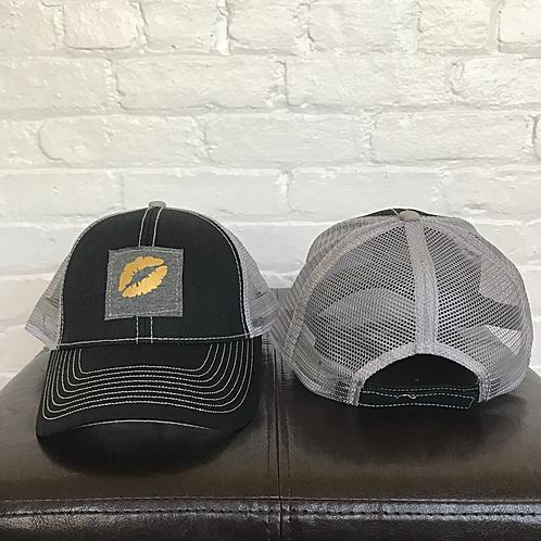 Kiss 💋 Black and Grey Trucker Hat