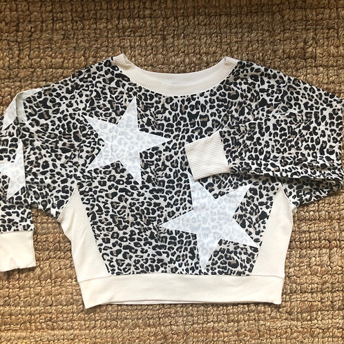 White Leopard with Stars Sweater Pullover