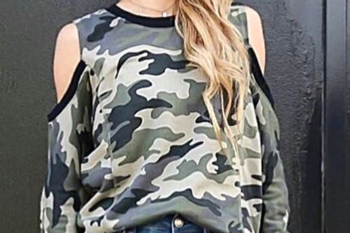 Camouflage Cold Shoulder Sweatshirt