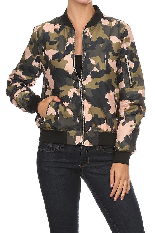 Pink Camo Bomber Jacket