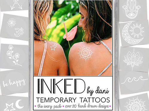 """Inked by dani Temporary Tattoos the """"Ivory"""" pack"""