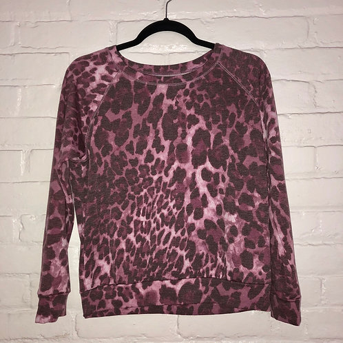 Prince Peter Collection Leopard French Terry Pullover in Plum