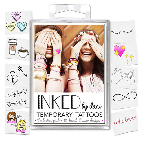 "Inked by dani Temporary Tattoos the ""Besties"" pack"