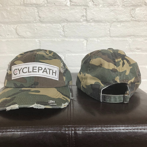"""Cyclepath"" Distressed Camo Hat"