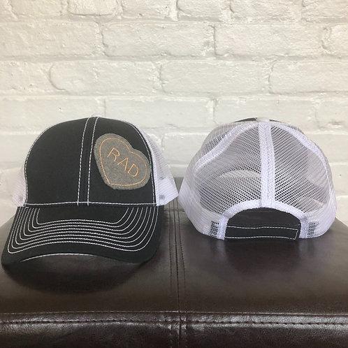 """Rad"" Black and White Trucker Hat"
