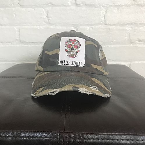 Sugar Skull Distressed Camouflage Hat