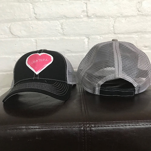 Grateful Heart Black/Grey Trucker Hat