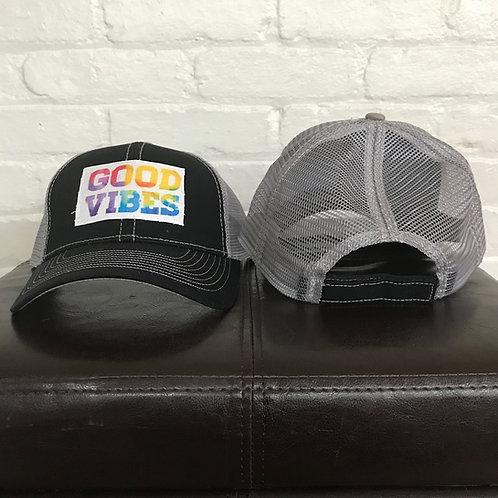 Tie Dye Good Vibes Only Black/GreyTrucker Hat