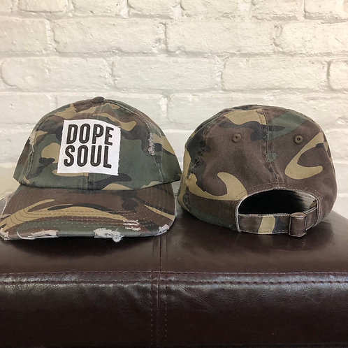 """Dope Soul"" Camouflage Distressed Hat"