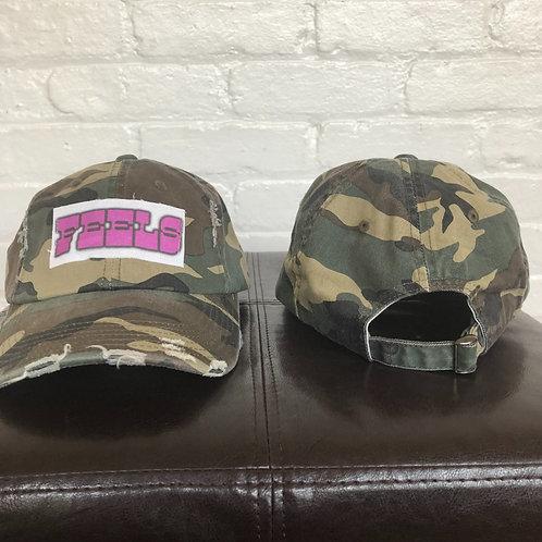 """FEELS"" Camo Distressed Hat"