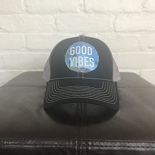 Good Vibes Palm Tree Black with Grey Trucker Hat