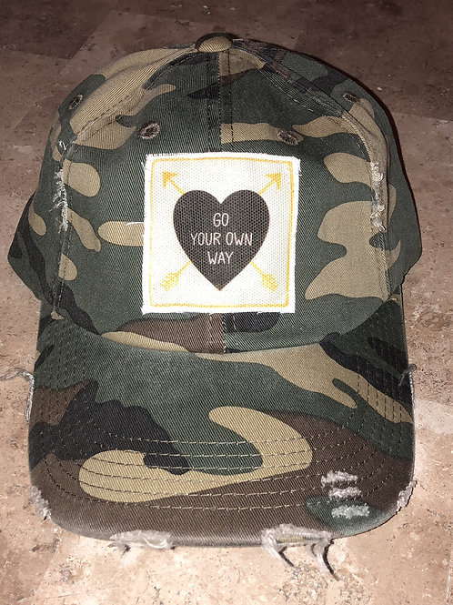 Go Your Own Way Camo Distressed Hat
