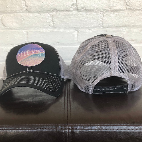 """Good Vibes"" Black and Grey Trucker Hat"