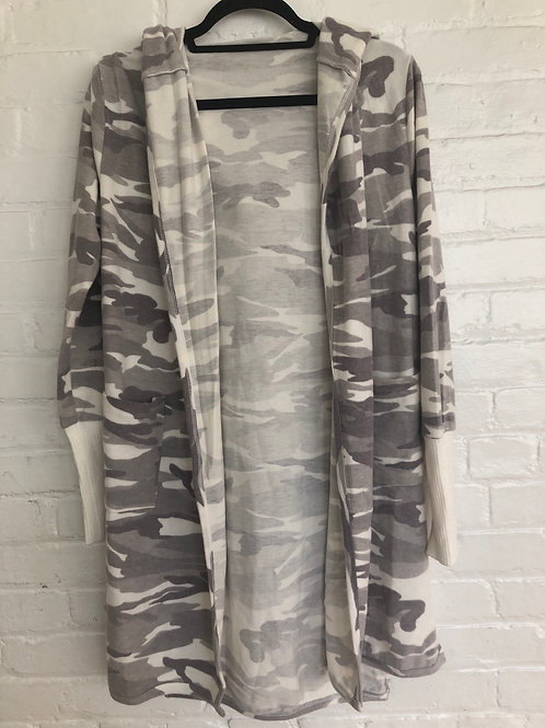 Hooded Long Cardigan in White Camouflage