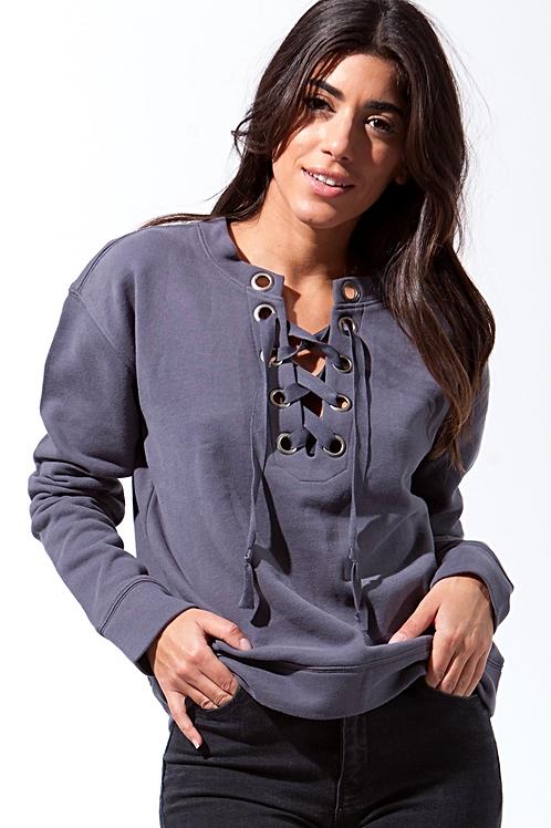 Farrah Tie Front Sweatshirt in Warrior Grey