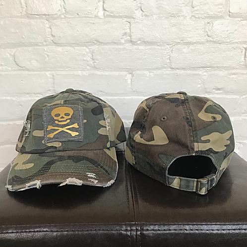 Skull and Crossbones Distressed Camo Hat