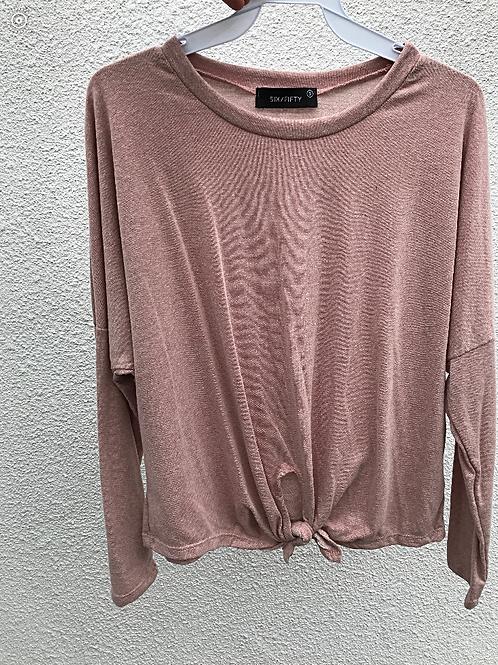 Tie Front Sweatshirt in Blush