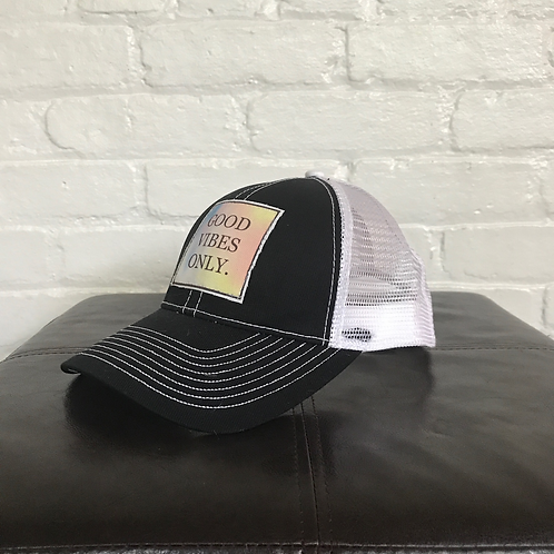 Good Vibes Only Black with White Trucker Hat
