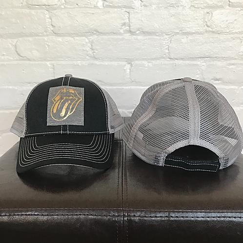 Metallic Rolling Stones Black and Grey Trucker Hat
