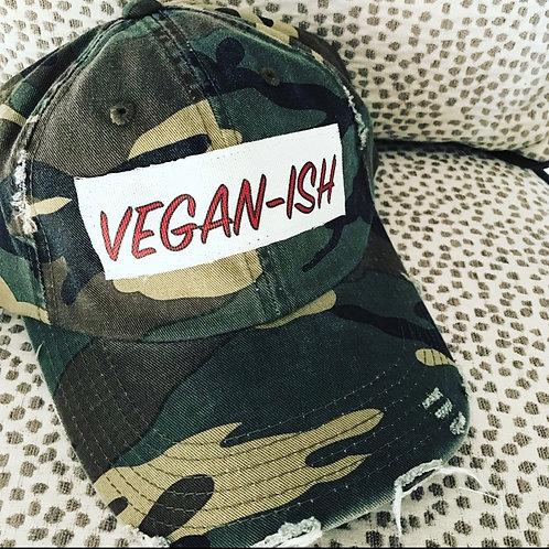 Vegan-ish Camo Distressed Hat