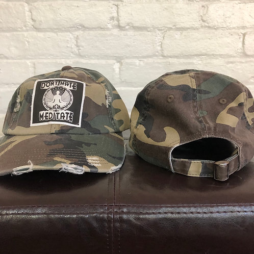 """Don't Hate, Meditate"" Camouflage Distressed Hat"