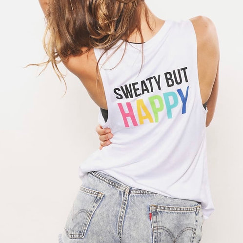 "House of Tens ""Sweaty But Happy"" muscle tank in White"