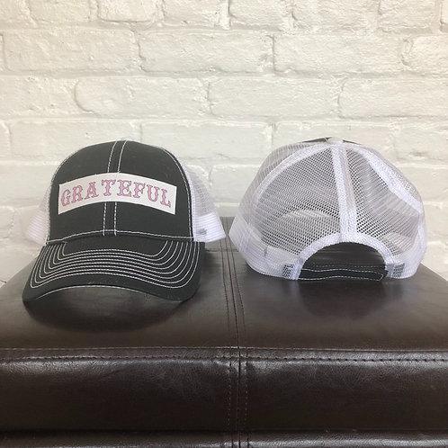 """Grateful"" Black and White Trucker Hat"