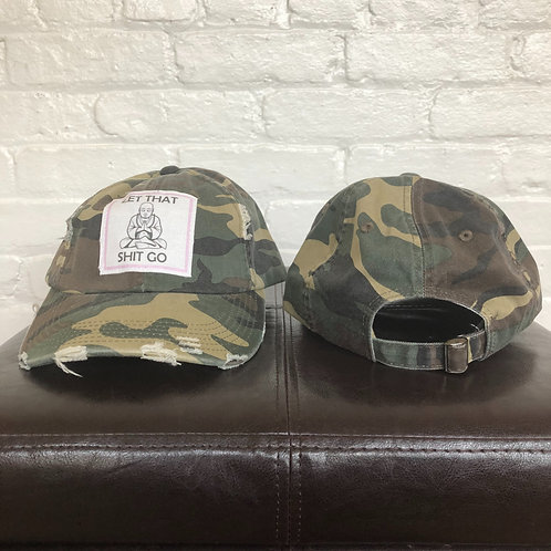 """""""Let That S*#t Go"""" Distressed Camo Hat"""