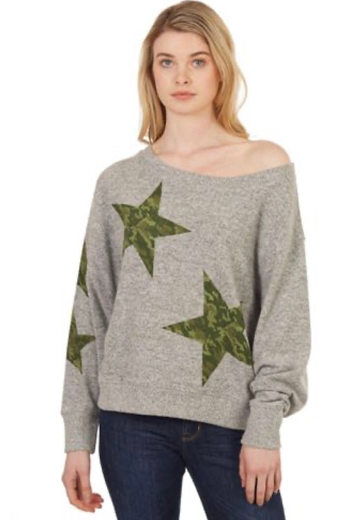 Jumbo Star Pullover Grey with Camouflage Stars