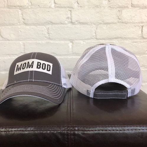 """""""Mom Bod"""" Grey and White Trucker Hat"""