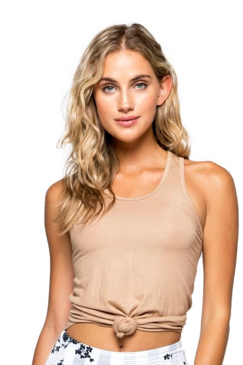 Strut This Calvin Racerback Tank in Taupe