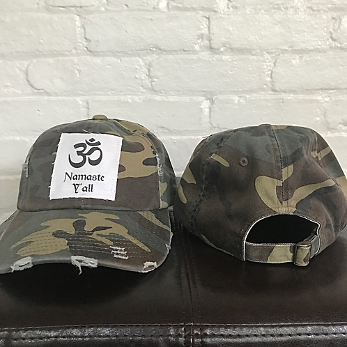 Namaste Y'all Distressed Camouflage Hat