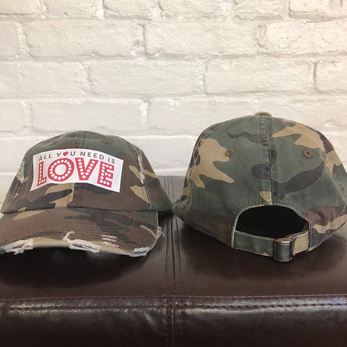 """All You Need is Love"" Distressed Camouflage Hat"