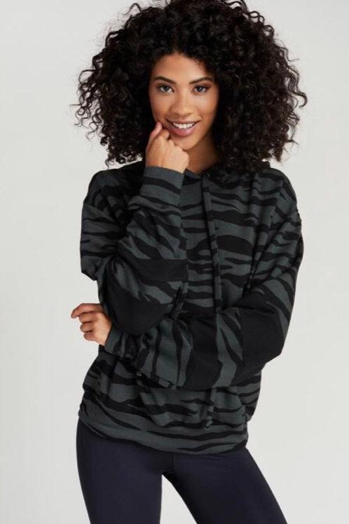 Strut This Josie Sweatshirt in Olive Zebra/Black