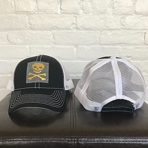 Skull and Crossbones Black and White Trucker Hat