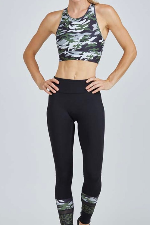 PrismSport's Medley Legging in Black with Green Patton