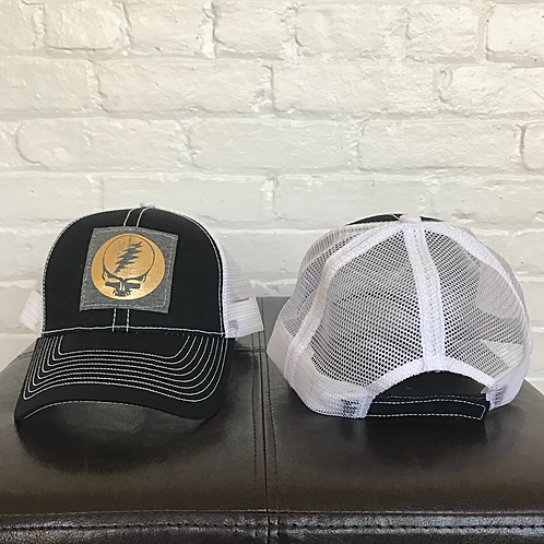 Metallic Grateful Dead Black and White Trucker Hat
