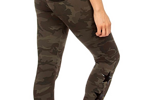 Teagan High Waisted Leggings in Green Camo with Black Stars