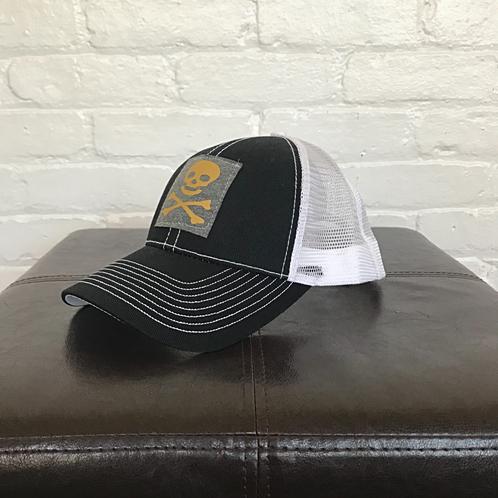 Skull and Crossbones Black and White Trucker Hat