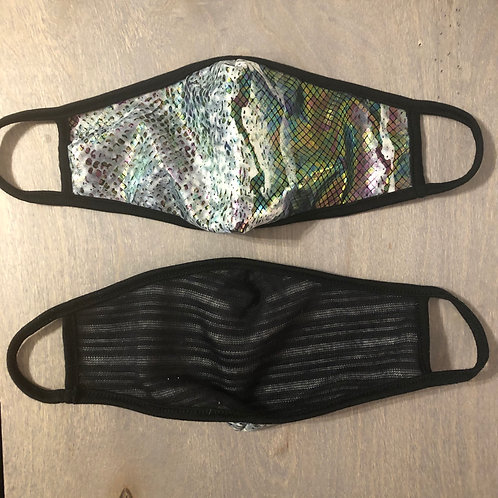 Reusable Masks in Irridescent Silver Cobra