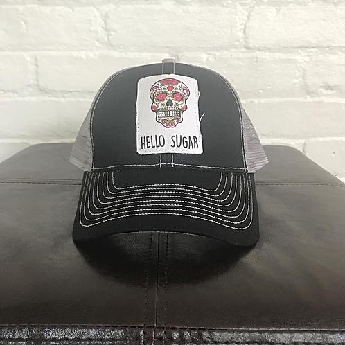 Sugar Skull Black with Grey Trucker Hat